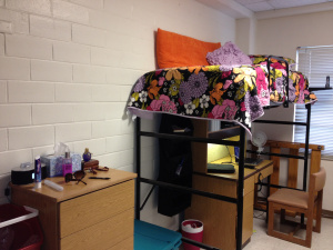 My Freshman dorm room on the first day of moving in - not quite done!