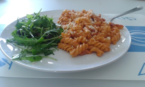Pasta with Red Pesto and Bacon (Photo credits: Inklingstime)