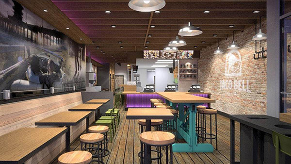 The interior of the proposed Taco Bell in Wicker Park, Chicago